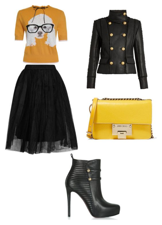 """""""Untitled #67"""" by wallan on Polyvore featuring Topshop, Balmain and Jimmy Choo"""