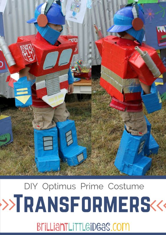 Transformer costume optimus prime and diy kids costumes for Diy halloween costumes for kid boy