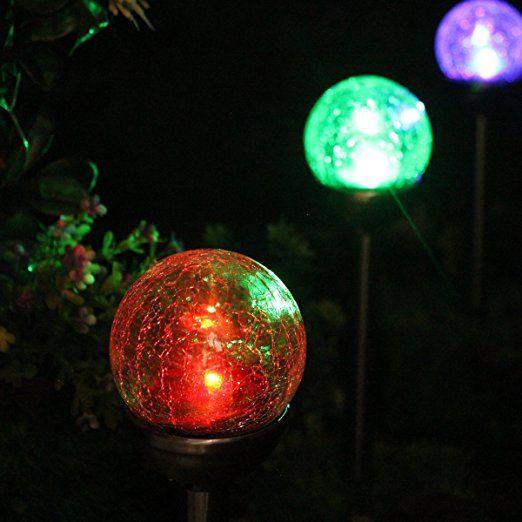 Nordsd Solarlampen 4er Set Edelstahl Led Farbwechsel Solar Crackle Glaskugel Licht Mit Erdspiess Solarleuchten Garten So Solarlampen Solarleuchten Glaskugel