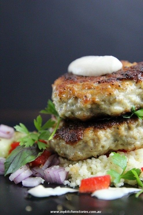 Chicken Cakes with Tahini and Preserved Lemon