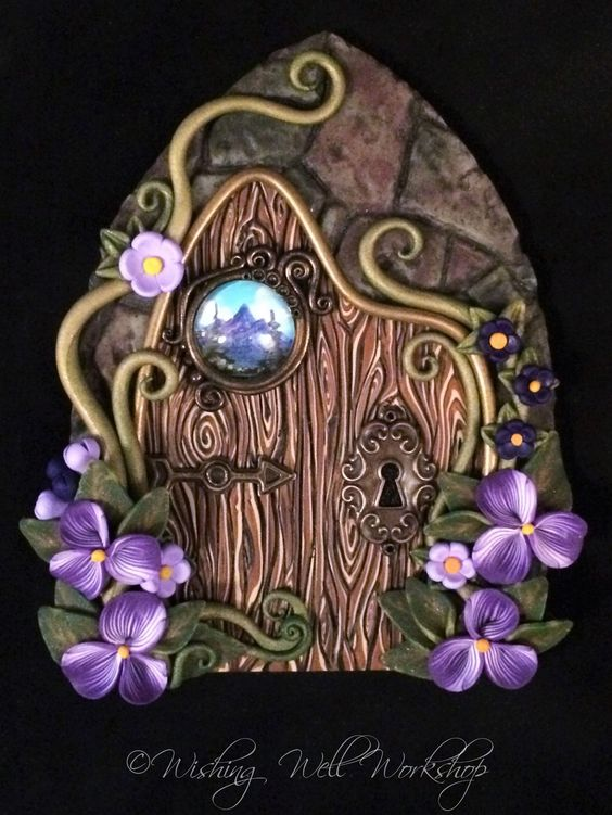 Polymer Clay Fairy Door with Handpainted Landscape Portal-Wishing Well Workshop