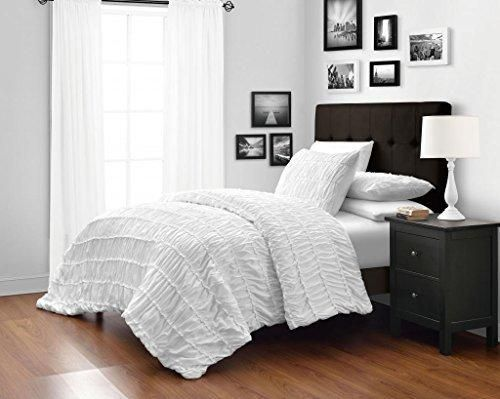 White Queen Size 3-Piece Ruched Duvet Cover Set with 1pc Duvet ...