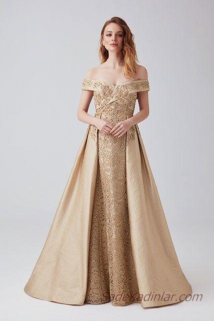 2019 Abiye Elbise Modelleri Sari Uzun Capraz Yaka Omuz Acik Kabarik Etek Desenli Elbise Modelleri Elbise The Dress
