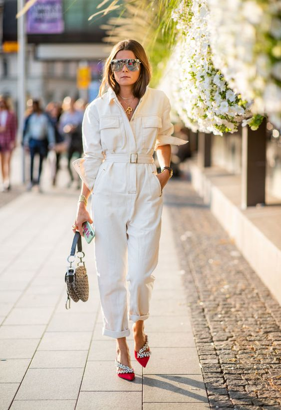 STOCKHOLM, SWEDEN - AUGUST 28: Rikke Krefting wearing white overall seen during Stockholm Runway SS19 on August 28, 2018 in Stockholm, Sweden. (Photo by Christian Vierig/Getty Images)