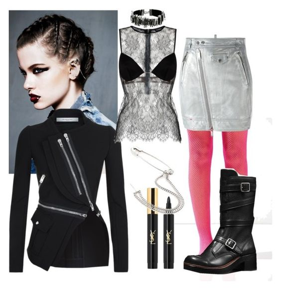 """""""Edgy Style II"""" by denibrad ❤ liked on Polyvore featuring Urban Outfitters, Dsquared2, Coach, Yves Saint Laurent, Givenchy, Maison Margiela and Marc Jacobs"""