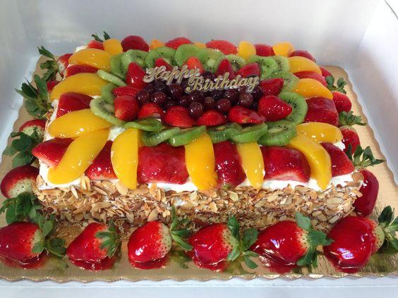 Rectangle Half Fruit And Sponge Cake Recipe