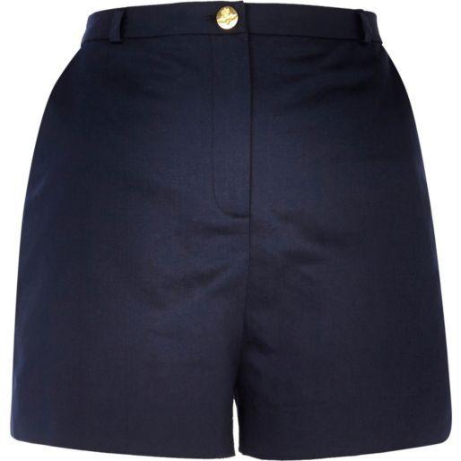 Navy blue high waisted smart shorts - smart shorts - shorts ...