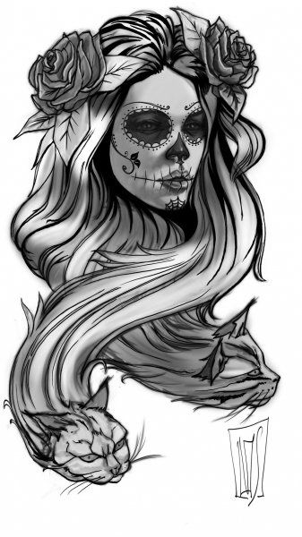 Catrina , day if the dead , sugar skull , pencil drawing.