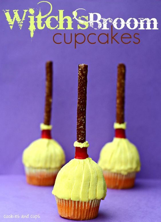 Witches Broom Cupcakes