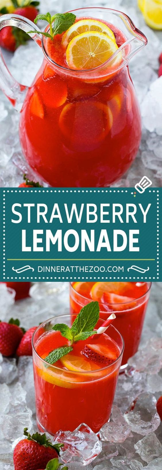 Strawberry Lemonade Recipe | Homemade Lemonade | Strawberry Drink Recipe #lemonade #strawberries #drink #dinneratthezoo