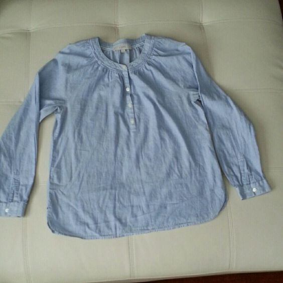 Ann Taylor Loft size small cotton chambray shirt Ann Taylor Loft size small blue and white chambray shirt smocking around neck all buttons LOFT Tops Button Down Shirts