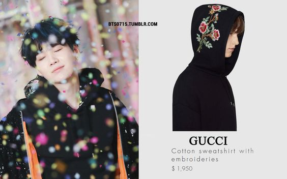 170208 | YOONGI : YOU NEVER WALK ALONE CONCEPT PHOTOS BTS GUCCI - cotton sweatshirt with embroideries // (x)