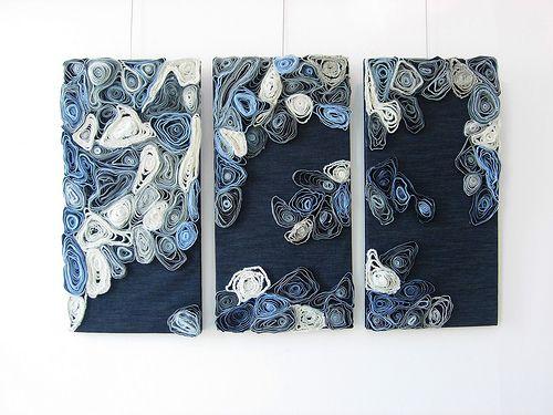 Cuadros tríptico con costuras de tejanos.