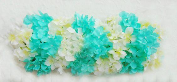 NEW! Aqua Robin Blue Mint Artificial Flower Hydrangea Mat Wedding Wall Decoration by sophieliu2 on Etsy