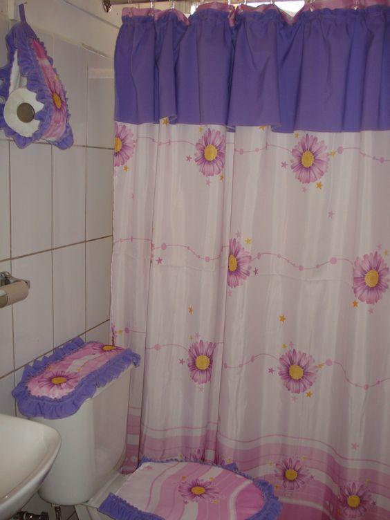 Cortinas elaboradas en tela  Cortinas de baño  Pinterest ...