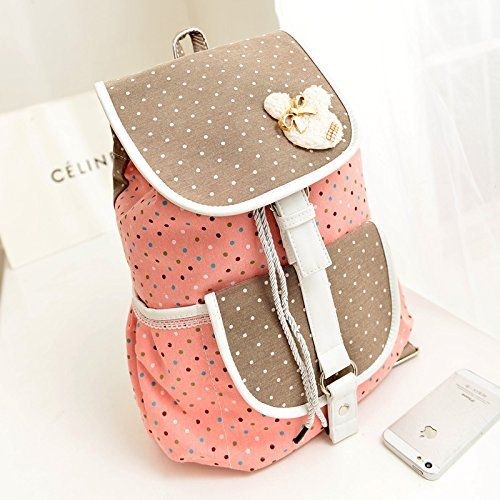 saint laurent bags sale - MiCoolker(TM) Cute Dot Wave Point Kitten Bow Backpack Leisure ...