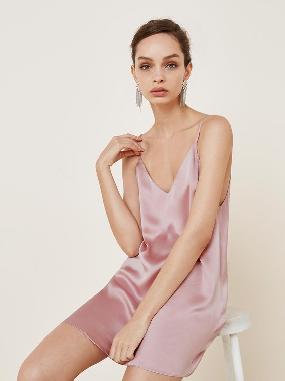 For bed, or wherever. This is a mini length slip dress with adjustable straps and a v neckline.  https://www.thereformation.com/products/adriana-dress-blush?utm_source=pinterest&utm_medium=organic&utm_campaign=PinterestOwnedPins