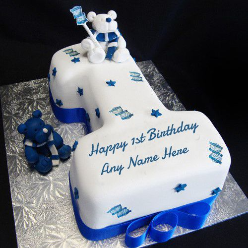 Happy 1st Birthday Wishes Cake With Name For Boy With Images
