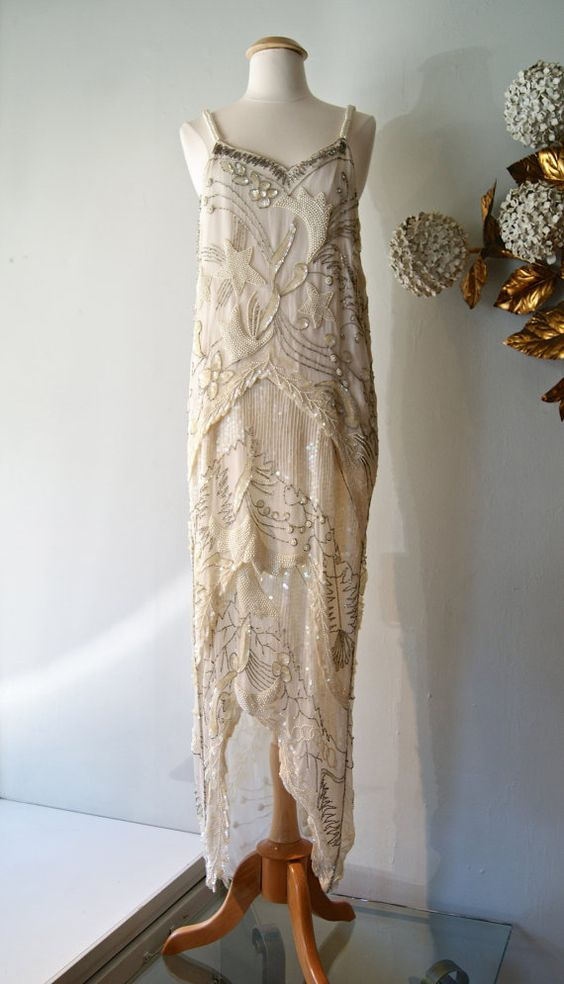 RESERVED 20s Style Beaded Flapper Wedding Dress - 1920s style ...