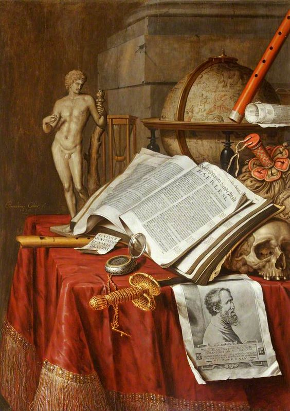 Vanitas still life by Edwaert Colliers at Dyrham, 1675, reflecting Blathwayt's love of books, the visual arts and music. ©National Trust, image supplied by the Public Catalogue Foundation