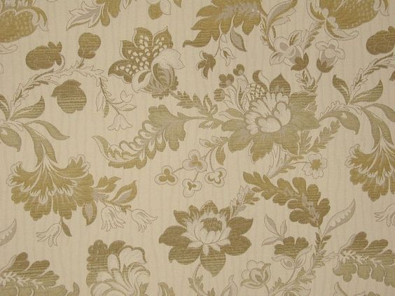 Flores Honey Beige Chenille Jacquard Curtain Upholstery Fabric ...