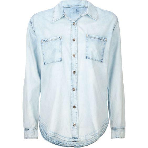 FULL TILT Womens Blasted Chambray Shirt ($27) via Polyvore