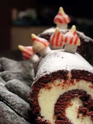 Red Velvet Yule Logs.  Very similar to Pumpkin Rolls so I can only imagine they're amazing.  Can't wait to having a baking day and try them out!