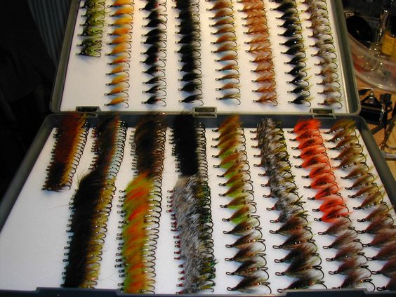 A few of Ken's flies - Ken keeps on tying in spite of having boxes like this