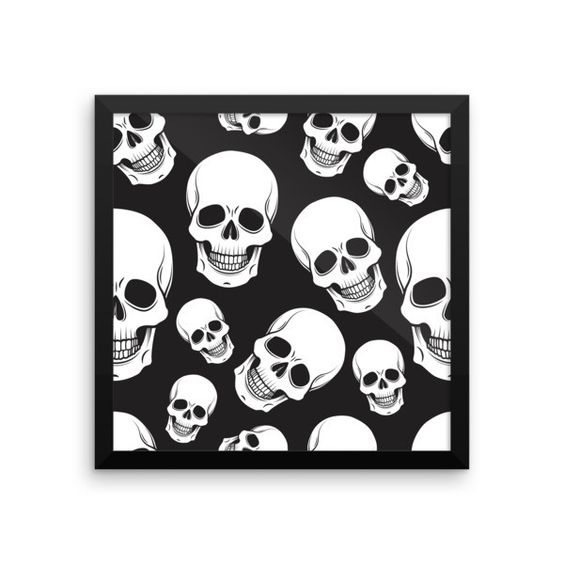 Black and White Skull Camo Framed poster