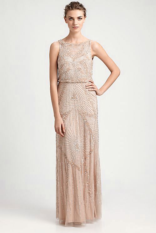 Beaded gold champagne dress with red lips and vintage for Wedding dresses with gold beading