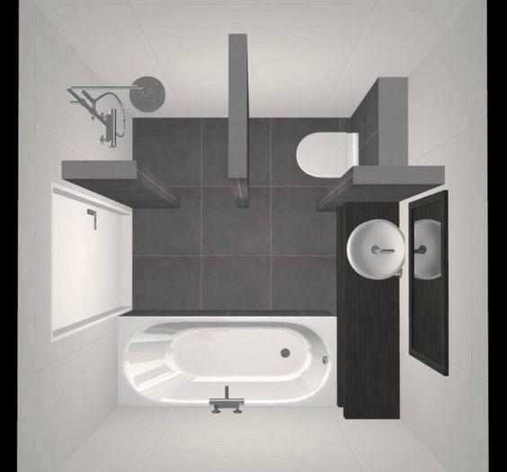 Muurverf In De Badkamer ~ Kleine Badkamer met Douche, Bad, Wastafel en Toilet  Ontwerp