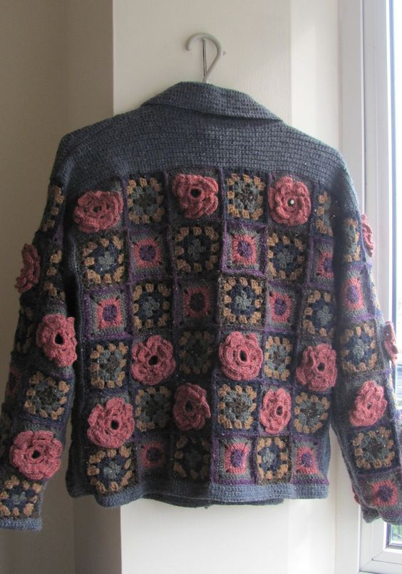 Granny squares, Squares and Crochet jacket on Pinterest