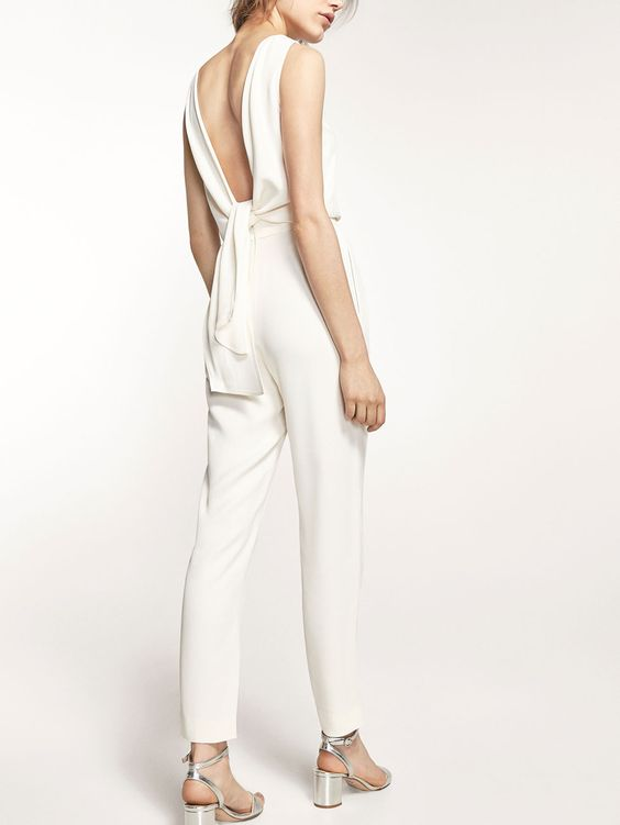 Autumn Spring summer 2017 Women´s WHITE JUMPSUIT WITH BOW ...
