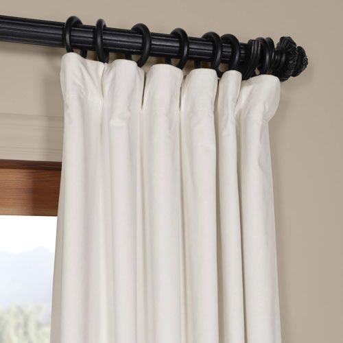 Half Price Drapes Off White Blackout Velvet Pole Pocket Single
