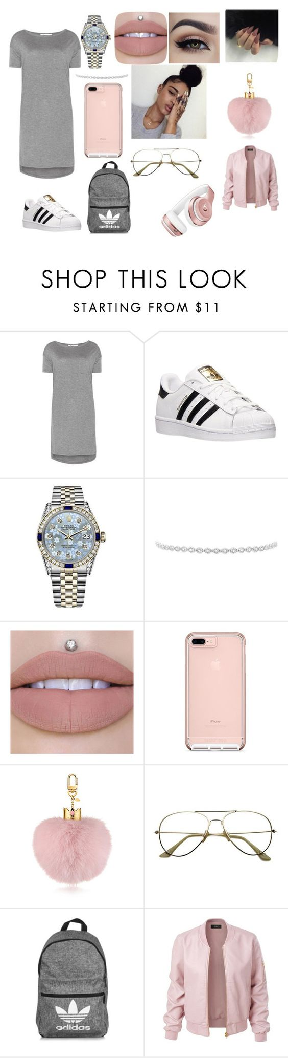 """""""chill day"""" by indiababyy-1 ❤ liked on Polyvore featuring T By Alexander Wang, adidas, Rolex, Logan Hollowell, LE3NO and Beats by Dr. Dre"""