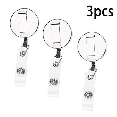 Kare and Kind Heavy Duty Retractable Reel with Belt Clip, 59.5 cm Steel Cord, Chrome Metal Case, Belt Loop Clasp and Quick Release Hook (3 pack)