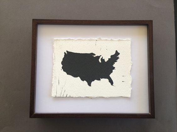 LinoCut Print of United States