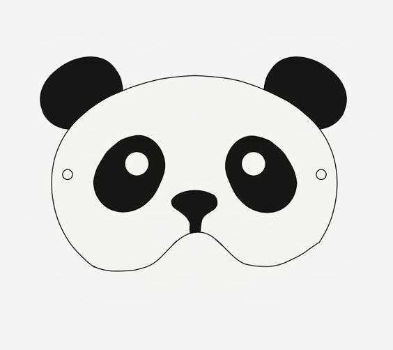 Panda mask cut & color | maskeler | panda, mask template, bear mask.