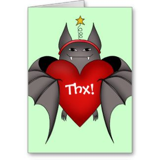 Amorous gothic Christmas bat with red heart Greeting Card