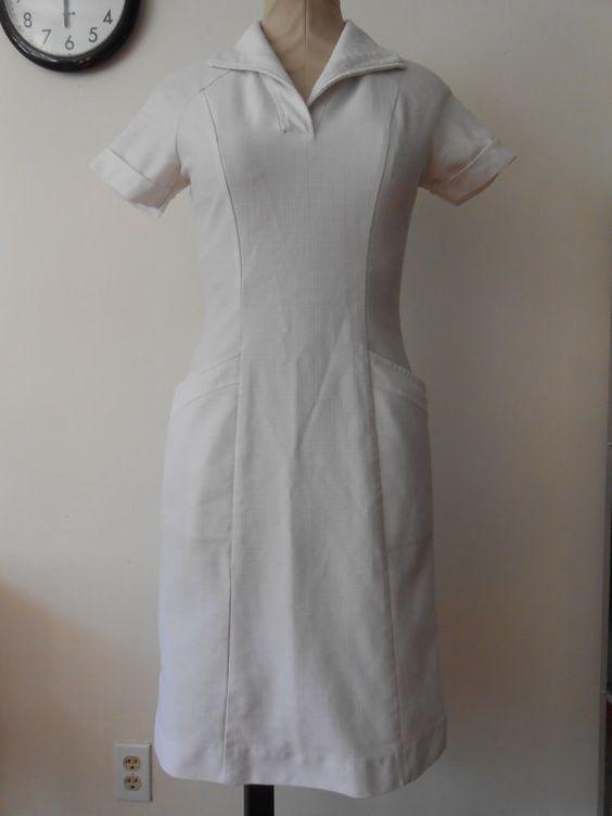 1960s white nurse uniform dress wiggle fit