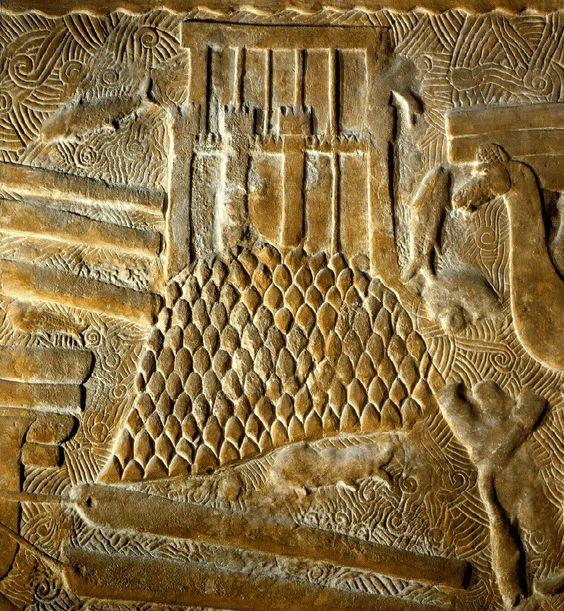 O palácio de Jorsabad em construção, 713-706 a.C., Museu do Louvre, Paris.