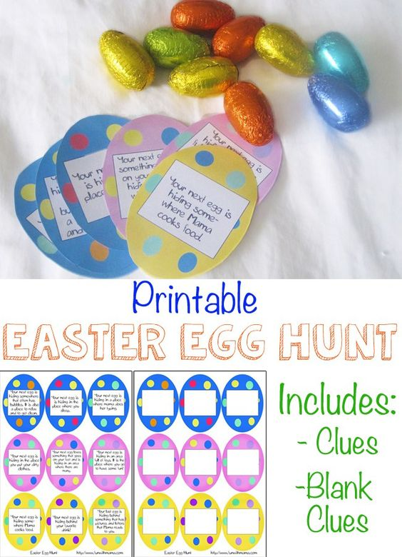 Easter Egg Hunt with Printable Clues for kids would be the perfect toddler, preschool or elementary aged activity for kids that is simple and easy to set up! I love that there is one clue page that has already inserted simple clues while the other is blank and can be customized to your specific child or even spouse!: