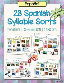 28 spanish syllable sorts phonemic awareness and alphabet activities spanish activities and. Black Bedroom Furniture Sets. Home Design Ideas