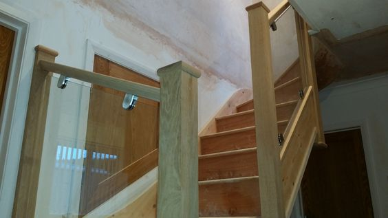 Softwood with oak posts and glass balustrade