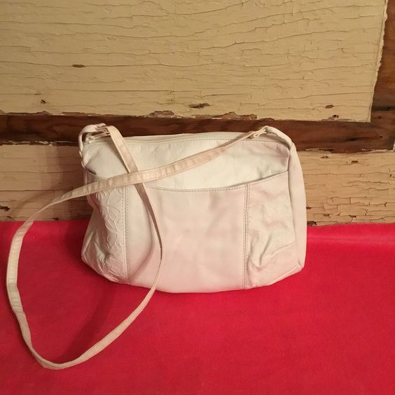 Vintage White Leather Handbag Toni Genuine Leather Purse by RickettyAttic on Etsy