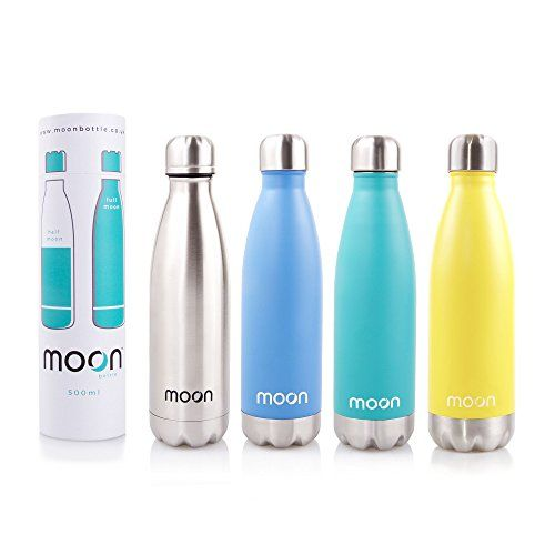 Moon Bottle Premium Insulated Stainless Steel Metal Water Bottles 24 Hours Cold 12 Hours Hot Double Walled Reusable Bpa Free Leakproof Guarantee 500ml Silver Stainless Steel Water Bottle Bottle Water Bottle