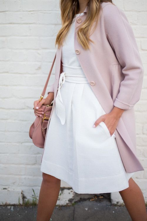 Pink coat & White summer dress | Chic Entrepreneur | Pinterest ...