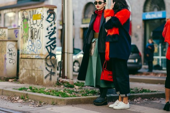 Fashion editors Sherry Shen and Yoyo Lu after a show in Milan, Italy
