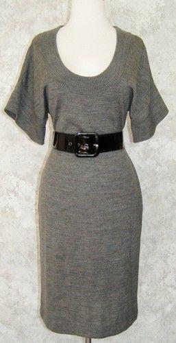CALVIN KLEIN Gray Heather Belted Sweater Dress S Merino Wool Blend Winter Fall   $42.49