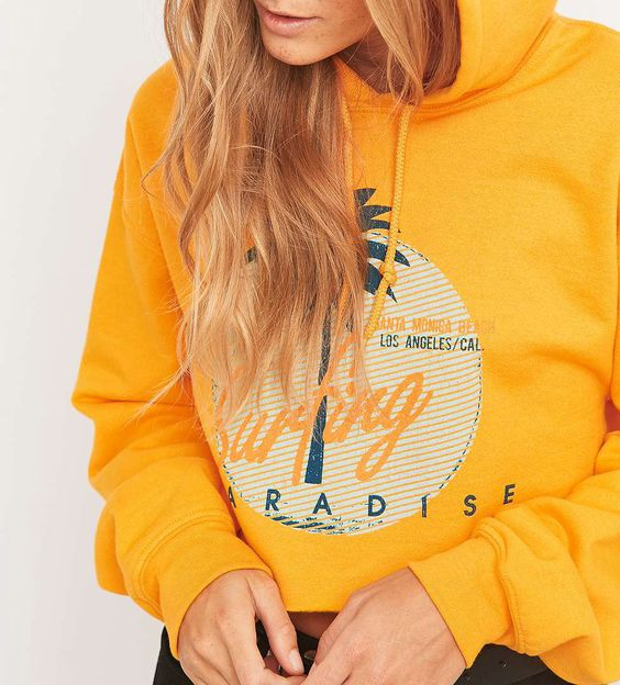 BDG Surfing Cropped Yellow Hoodie